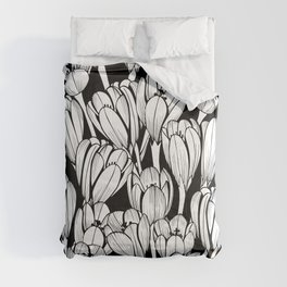 Monochrome seamless black floral vector pattern. Crocus flowers on a black background. Comforters