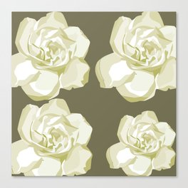 Gray,White Rose background Canvas Print