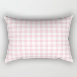 Light Soft Pastel Pink Cowgirl Buffalo Check Plaid Rectangular Pillow