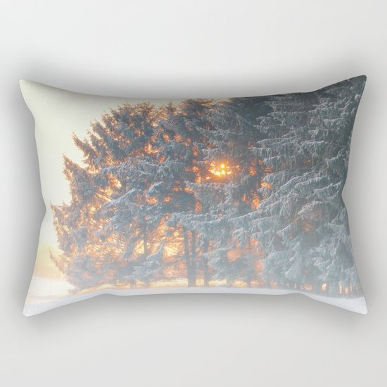 Sunrise in winter cloud forest Rectangular Pillow