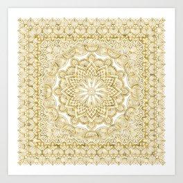 Orient Espresso Pattern Mandala Gold Art Print