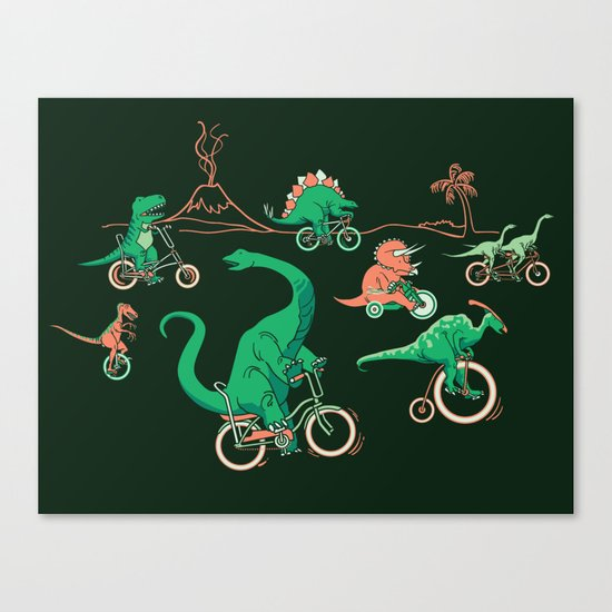 Dinosaurs on Bikes! Canvas Print