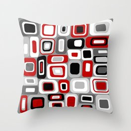 Mid Century Modern Squares and Rectangles // Red, Gray Black, White Throw Pillow