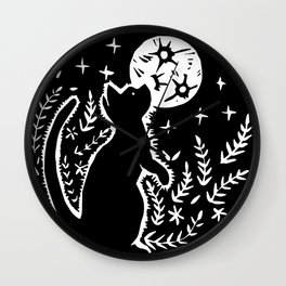 Moon Cat Wall Clock