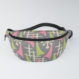 Mid Century Modern Atomic Wing Composition 235 Gray Pink and Charteuse Fanny Pack