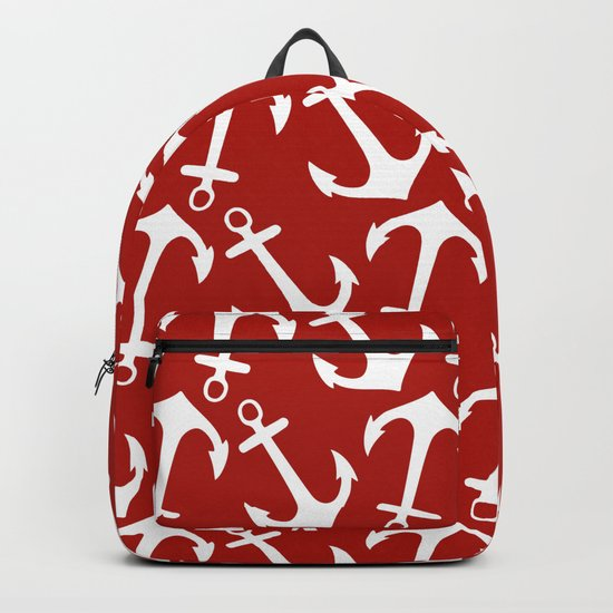 Maritime Nautical Red and White Anchor Pattern - Anchors on #Society6 Backpack