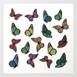 Multi Colored Butterfly Pattern Art Print