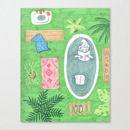 Green Tiled Bath drawing by Amanda Laurel Atkins Canvas Print