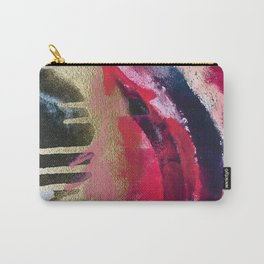 Between Heartbeats [1]: a vibrant abstract piece in pink gold black and white by Alyssa Hamilton Art Carry-All Pouch