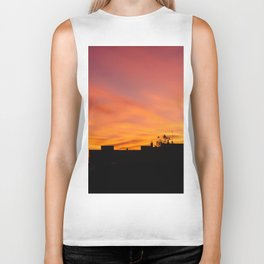 Orange Sunset over Madrid Biker Tank