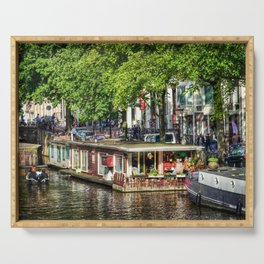 Amsterdam Houseboat on Canal Serving Tray