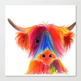 Scottish Highland Cow ' PANCAKE ' by Shirley MacArthur Canvas Print