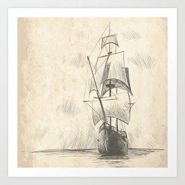 Vintage hand drawn galleon background Art Print