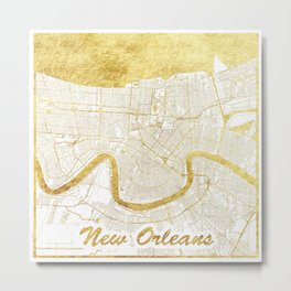New Orleans Map Gold Metal Print