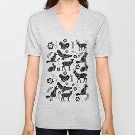 Folk Art Forest Animals Unisex V-Neck
