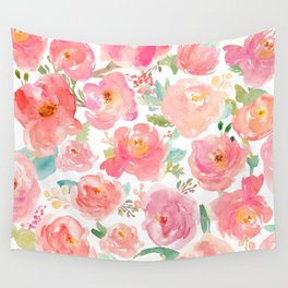 Pink Peonies Watercolor Pattern Wall Tapestry