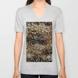 flow of dots in ochre Unisex V-Neck