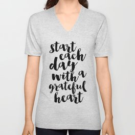 Thankful Sign Inspirational Print Printable Art Follow Your Heart Follow Your Dreams Give Thanks Unisex V-Neck