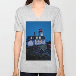 Rose Island Lighthouse; Narragansett Bay, Rhode Island Unisex V-Neck