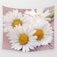 daisies Wall Tapestries featuring Daisies. by Mary Berg