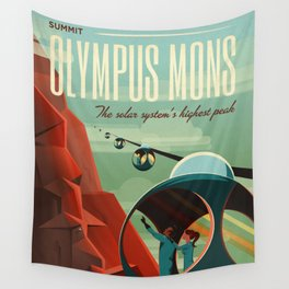 SpaceX Mars tourism poster / Olympus Mons Wall Tapestry