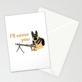 German Shepherd Dog with a Machine Gun Stationery Cards