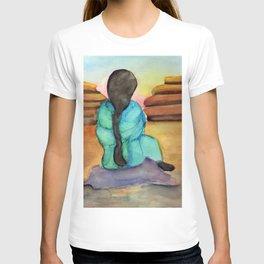 Woman Sitting on Rock T-shirt