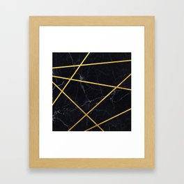 Black marble with gold lines Framed Art Print