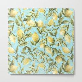 mediterranean summer lemon branches on turquoise Metal Print