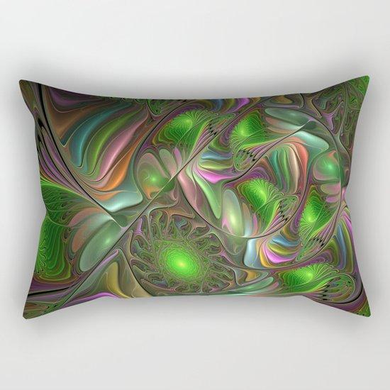 Colorful and Luminous, Abstract Fractal Art Rectangular Pillow