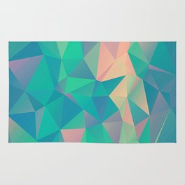 Fractured, Colorful Triangles Geometric Shapes Rug