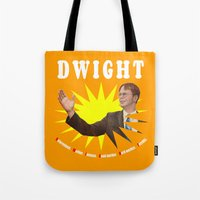 dwight schrute Tote Bags featuring Dwight Schrute  |  The Office by Silvio Ledbetter