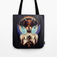 luna Tote Bags featuring Luna  by Christina Dias