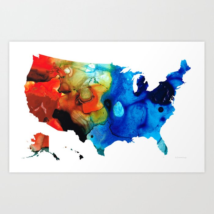 United States of America Map 4 Colorful USA Art Print by