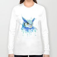 hedwig Long Sleeve T-shirts featuring Color Hedwig  by Simona Borstnar