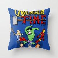 avenger Throw Pillows featuring Avenger Time by MattHercock