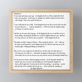 Annabel Lee Edgar Allan Poe Classic Poem Framed Mini Art Print
