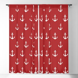 Maritime Nautical Red and White Anchor Pattern - Medium Size Anchors Blackout Curtain