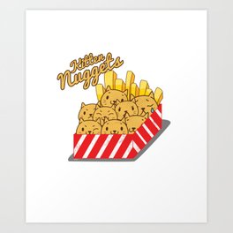 Cute Cats Chicken Nuggets Lover Art Print