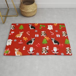 Christmas puppies  pattern decor.Dog lover decor Rug