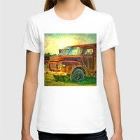 truck T-shirts featuring Old Rusty Bedford Truck by Wendy Townrow