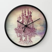 trees Wall Clocks featuring Castle in the Trees by Rachel Caldwell