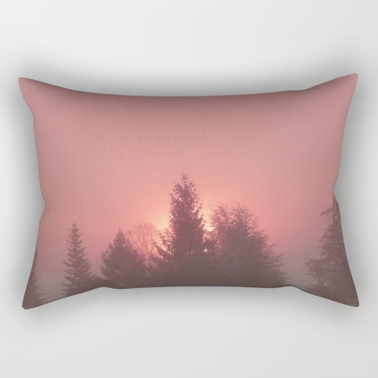 Sunrise on a foggy morning Rectangular Pillow