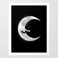 hug Art Prints featuring Moon Hug by carbine