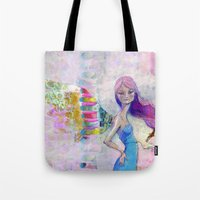 jane davenport Tote Bags featuring Perfect Little by Jane Davenport by Jane Davenport