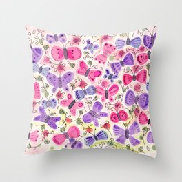 Happy Butterflies Throw Pillow
