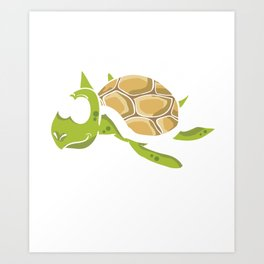 No Stress Funny Turtles Aquamarine Tortoise Reptiles Water Slider Marine Life Animals Gift Art Print