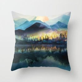 Mountain Lake Under Sunrise Throw Pillow
