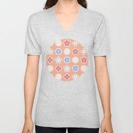 Retro Flowers Pattern with Orange Background Unisex V-Neck