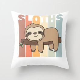 Sloth Funny Relaxed Sweet Animals Vintage Throw Pillow